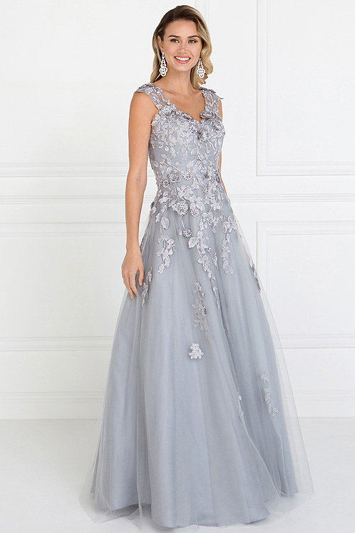 A-Line Long Dress WIth Embroidery
