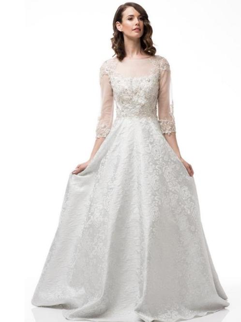 Bateau Neck 3/4 Sleeves Bridal Gown