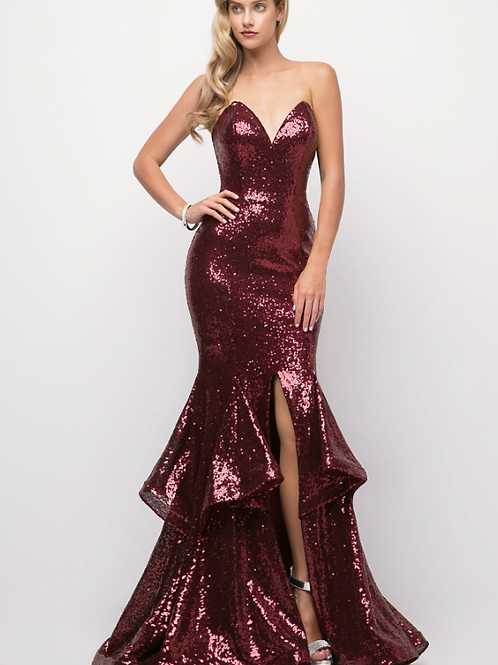 Strapless Fitted Sequin Gown W/ Sweetheart Neckline &Layered Mermaid Bottom