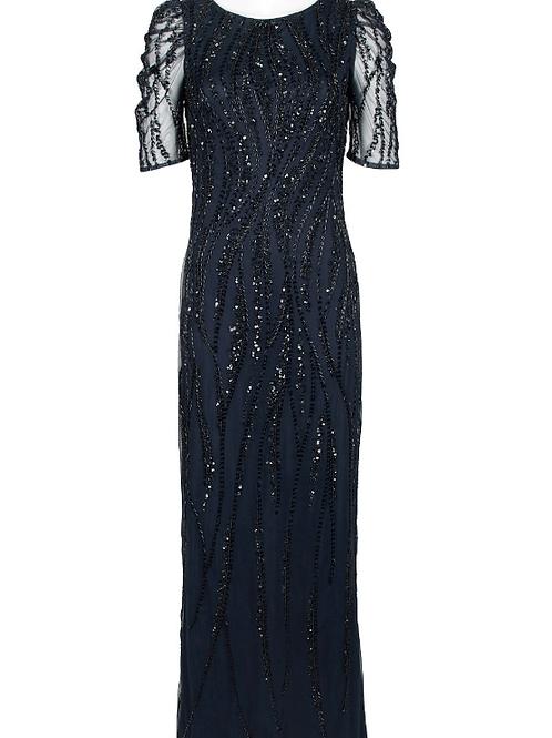 Adrianna Papell Crew Neck Short Sleeve Embellished Evening Dress
