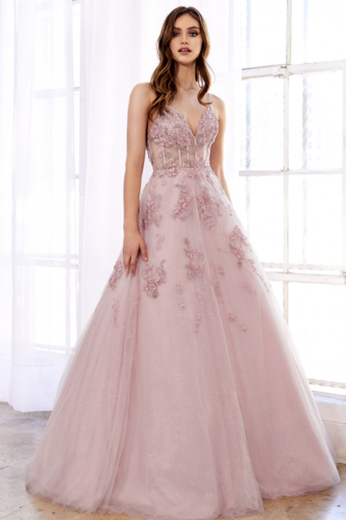 Sophia Floral Embroidered Glitter Ballgown