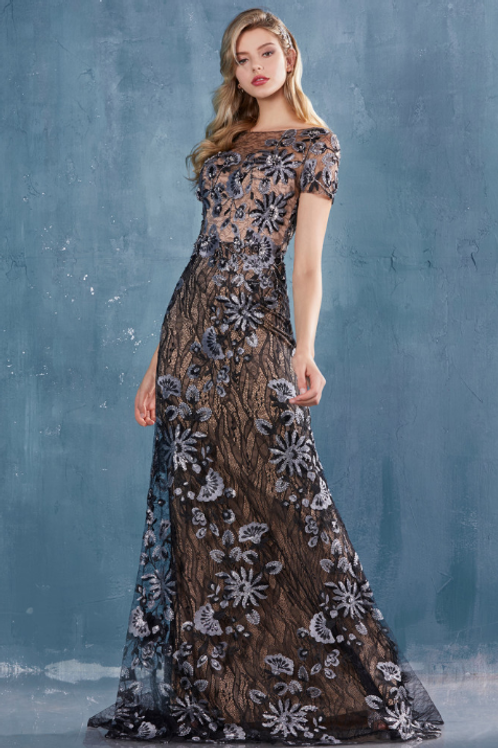 AGATHA Cap Sleeve Layered Lace Fit & Flare Gown