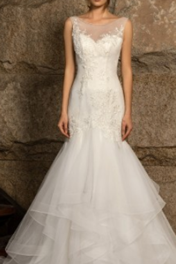 Beaded Lace Tulle Ruffled Mermaid Bridal Gown