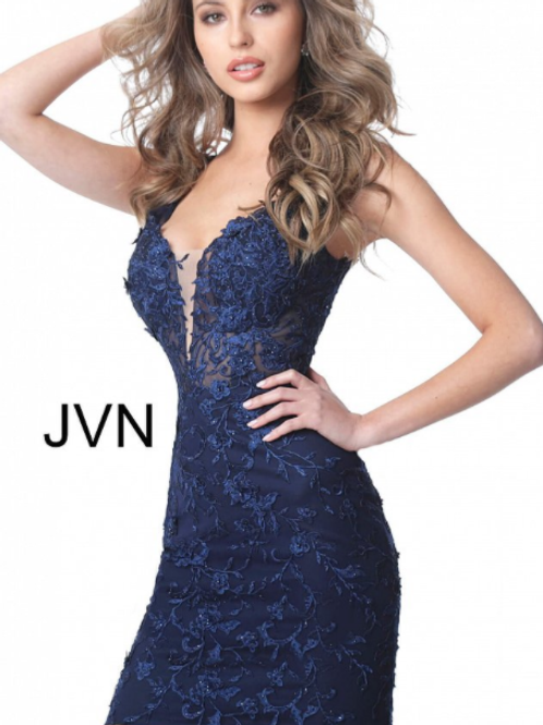 JVN4270 Navy Fitted Plunging Neckline Homecoming Dress