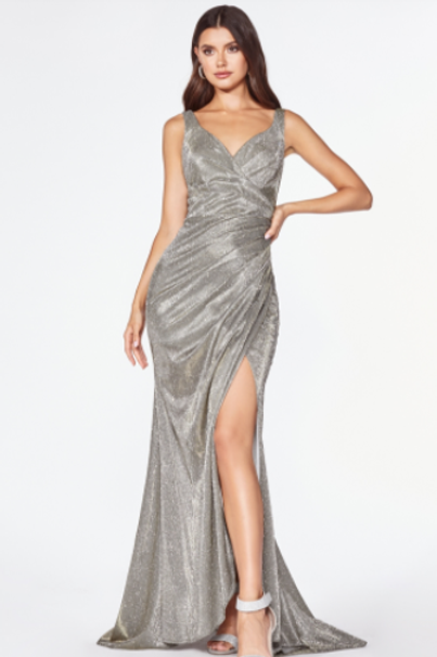 CINDERELLA DIVINE Fitted Sparkle Ruched Gown With V-neckline