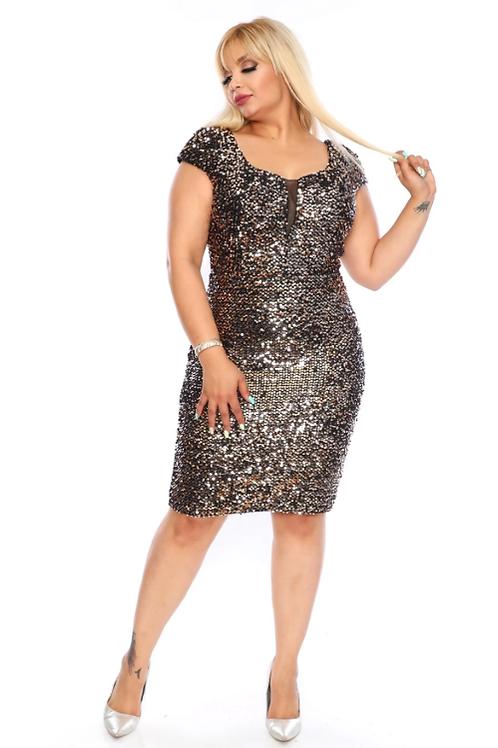 Mignon Manley Jeweled Plus Size Evening Midi Dress
