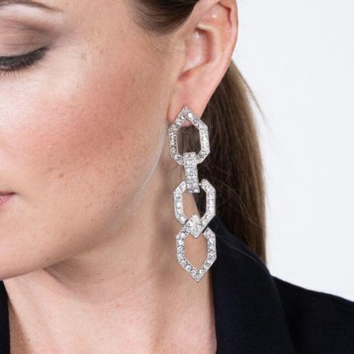 Crystal Open Link Pierced Earrings