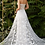 Thumbnail: Strapless fitted off-white gown with floral applique and glitter tulle overskirt