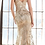 Thumbnail: Fitted gown with glitter floral print and sweetheart neckline.