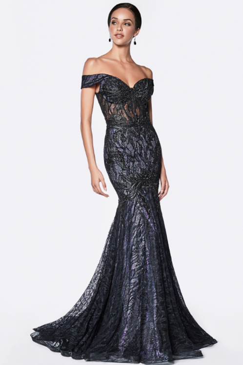 Off Shoulder Fitted Mermaid Gown Lilac & Black lace