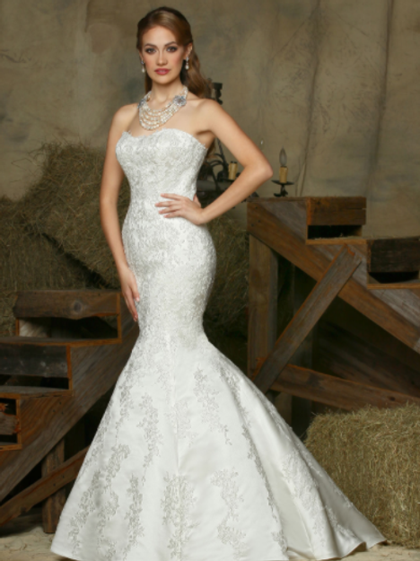 DAVinci Stunning Satin Beaded Bridal Gown