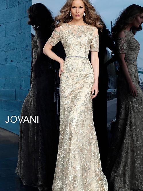 Gold Form Fitting Embellished Evening Dress 63649
