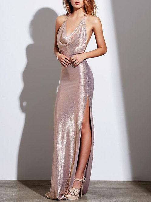 Sexy Backless Sequined Split-Side Evening Dress
