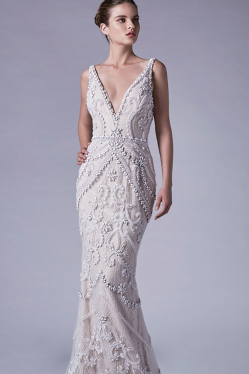 Andrea & Leo Opal Beaded and Glitter V-Neck Sheath Gown