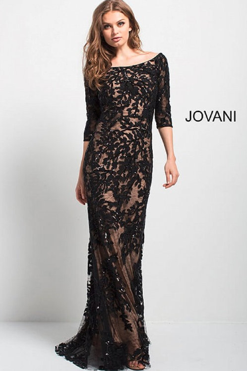 Black Lace Off the Shoulder Fitted Evening Gown 49636