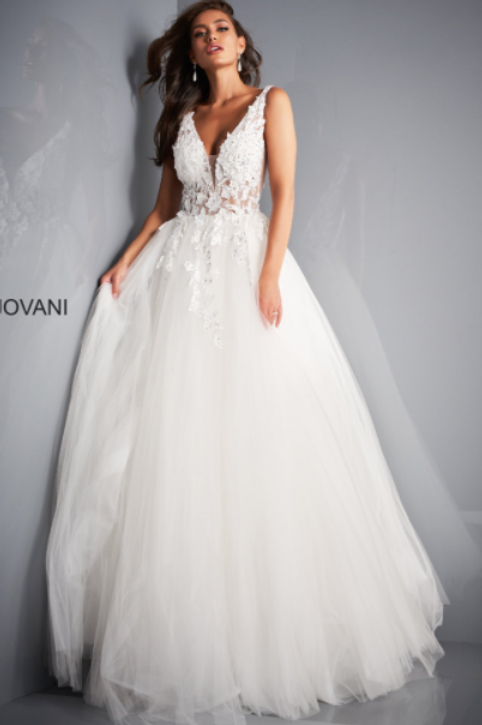 Jovani 02840 Ivory Tulle Floral Wedding Gown