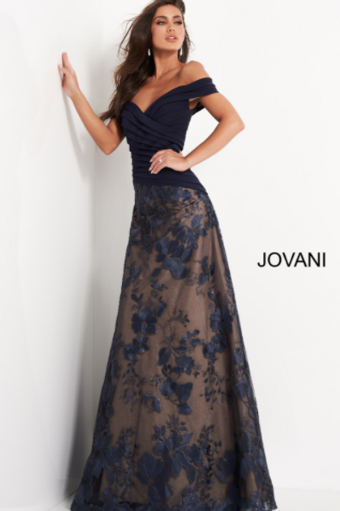 Jovani 02852 Navy Pleated Bodice A Line Evening Gown