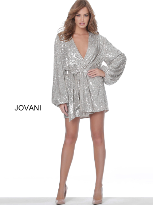 Jovani M3612 Nude Silver Sequin Wrap Short Dress