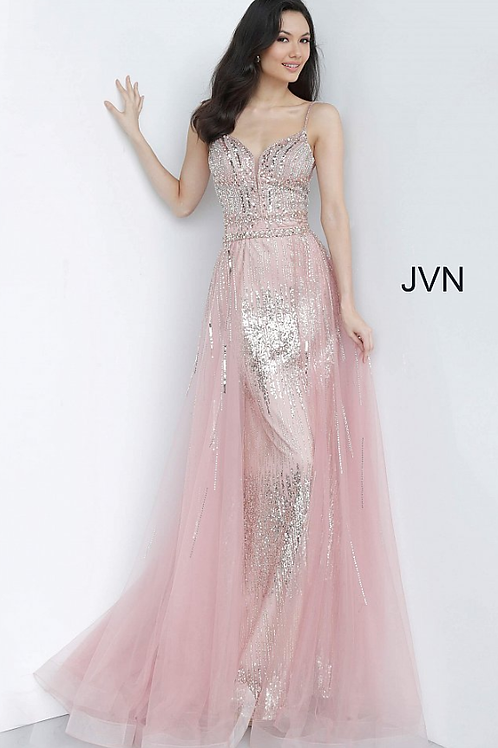 JVN2151 Peach Embellished Spaghetti Strap Gown JOVANI