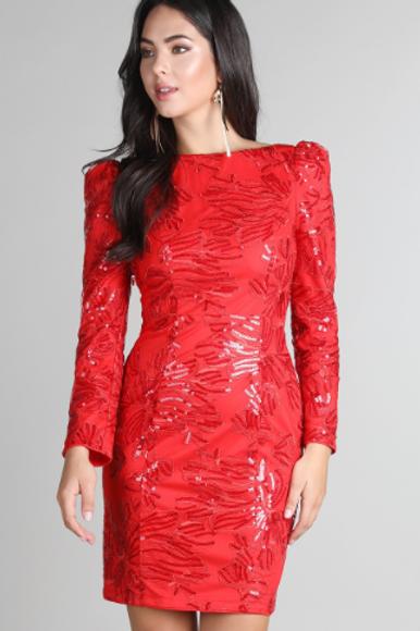 Sequins Embroidered Puff Shoulder Sleeve Dress