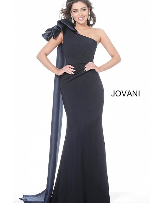 Jovani 1008 Navy One Shoulder Ruched Waist Evening Dress