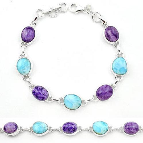 blue larimar charoite 925 silver tennis bracelet