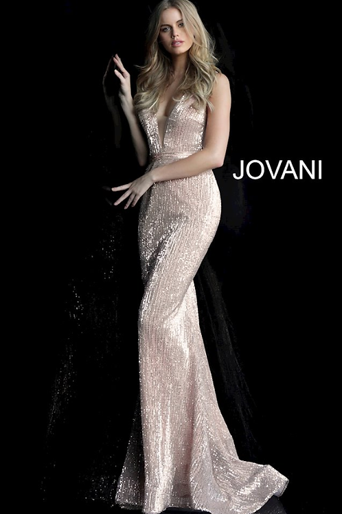 JOVANI Champagne Fitted Sequin Prom Dress