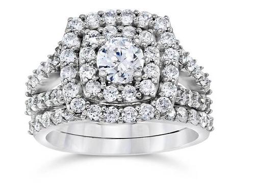 2 cttw Diamond Cushion Double Halo Engagement Wedding Ring Set