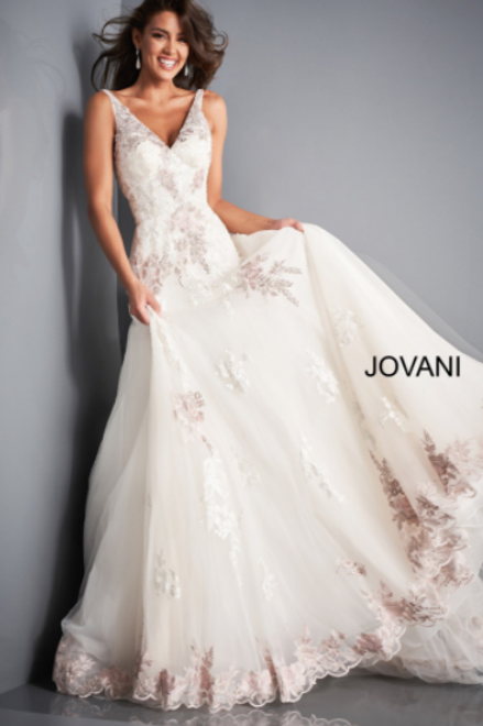 JOVANI JB2417 Ivory Floral embroidered Wedding Gown