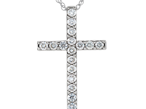 "1 Ct Diamond Cross 14k White Gold 18"" Womens Necklace"