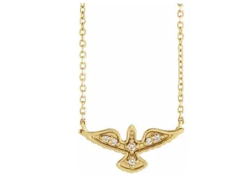 "14K Yellow .05 CTW Diamond Petite Holy Spirit 18"" Necklace"