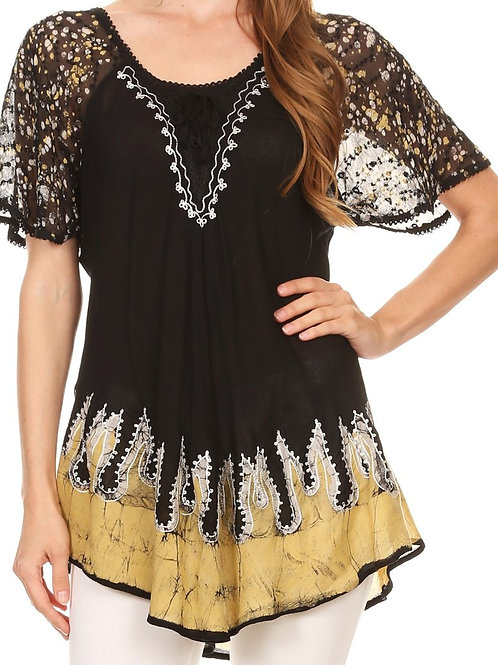 Relaxed Fit Batik Design Embroidery Cap Sleeves Blouse / Top
