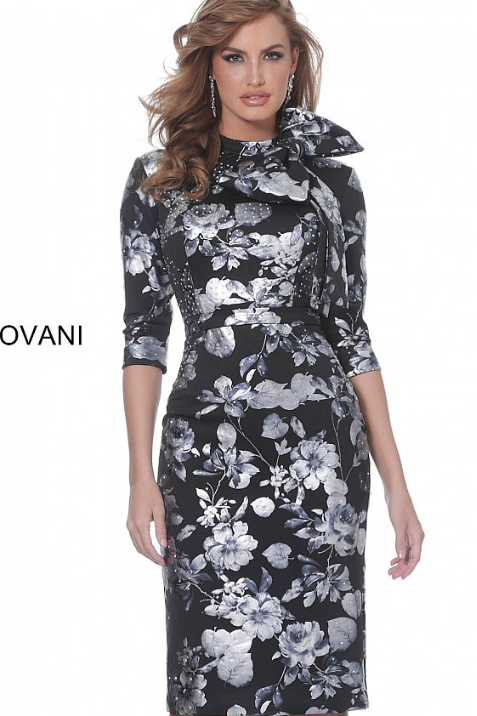 Jovani 2903 Black Grey Floral Print Knee Length Evening Dress