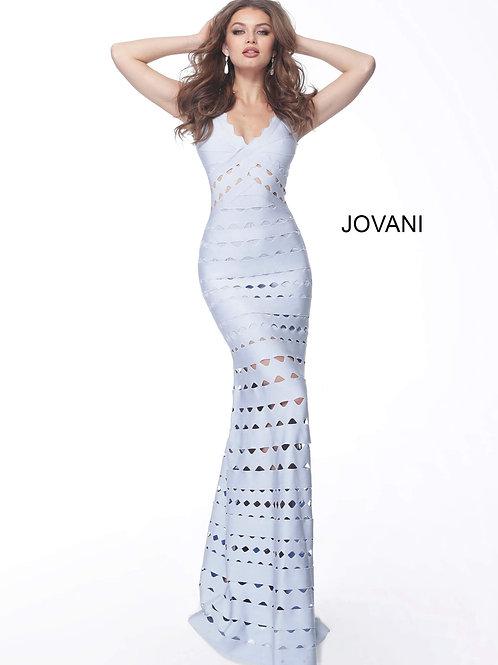Light Blue Form Fitting Sleeveless Evening Dress 68150