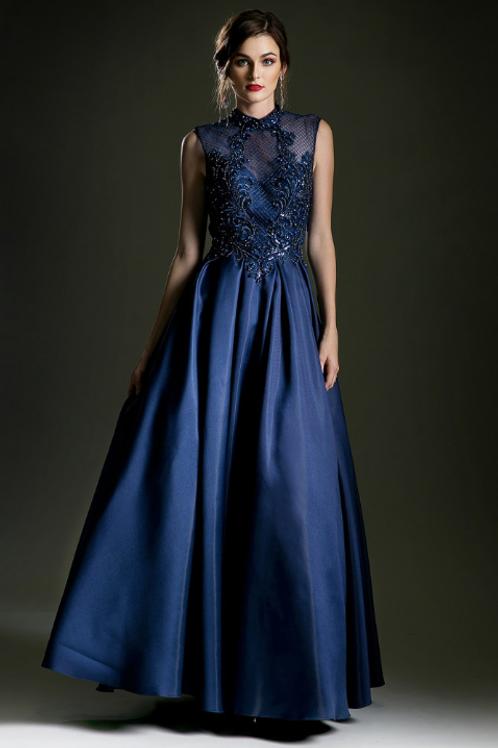 Cinderella Divine Satin Embroidered Crystal Embellished Top Gown