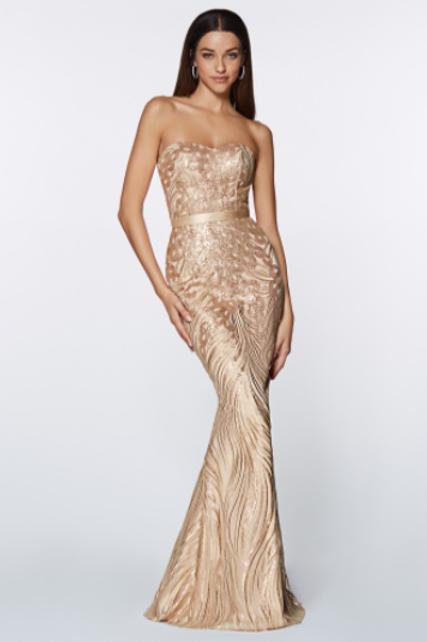 Cinderella Divine Strapless Satin Fitted Dress W/Sequin Details