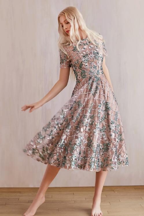 GAIA Sequin Victorian Garden Cap Sleeve Cocktail Dress