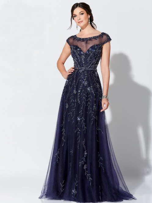Ivonne D Exclusively for Mon CheriCap Sleeve Evening Gown