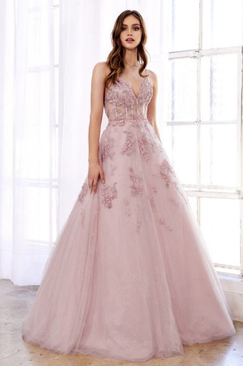 ANDREA & LEO Sophl Florl Embroidered Glitter Gown