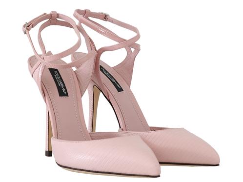 Dolce & Gabbana Pink Leather Iguana Pattern Pumps