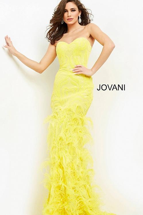 Jovani Stunning Embellished Yellow Sleeveless Dress 05667