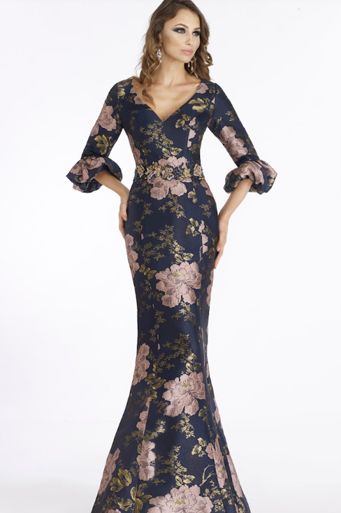FERIANI COUTURE Floral Satin Gown
