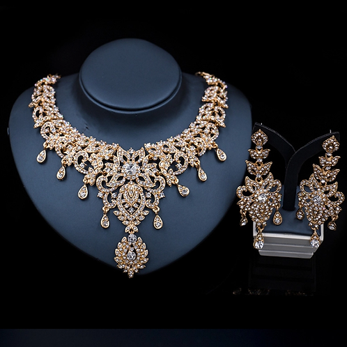 Mignon Manley Jewelry Sets Luxury Crystals 18K Gold Plated Necklace & Earrings