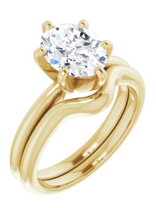 Diamond 14K Yellow 9x7 mm Oval Solitaire Engagement Ring