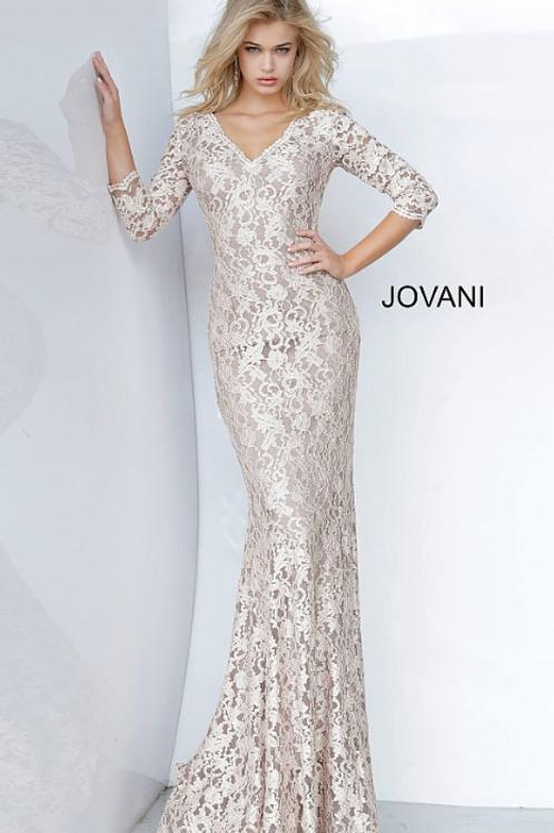 Jovani 03350 V Neck Fitted Lace Evening Dress