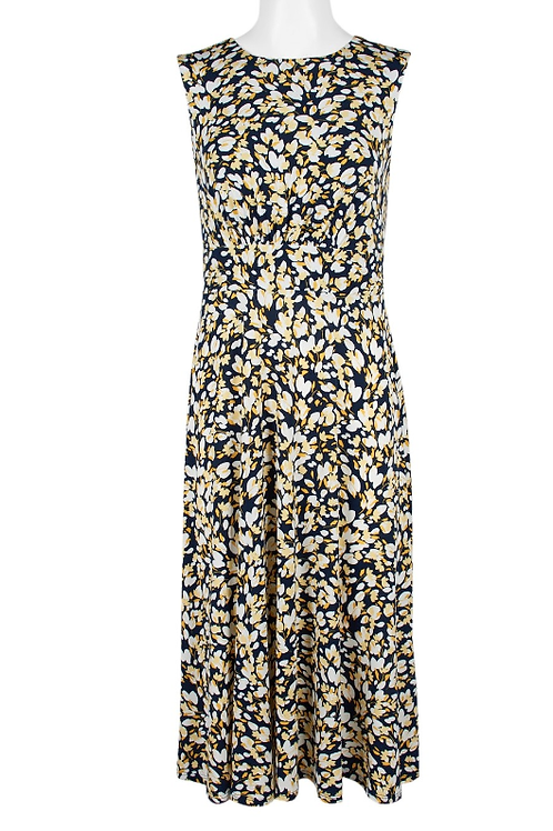 London Times Crew Neck Sleeveless Zipper Back Floral-Print Jersey Dress