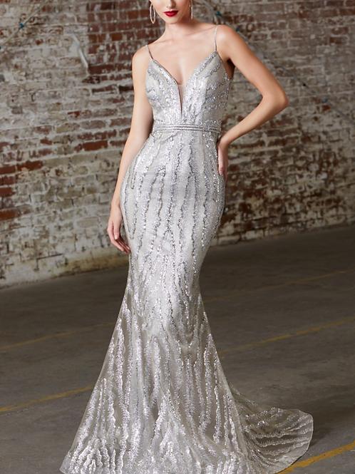 Fitted Evening Gown W/ Glitter  V-Neckline