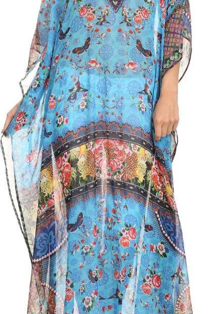 Printed Design Long Sheer Rhinestone Caftan Dress / Cover Up