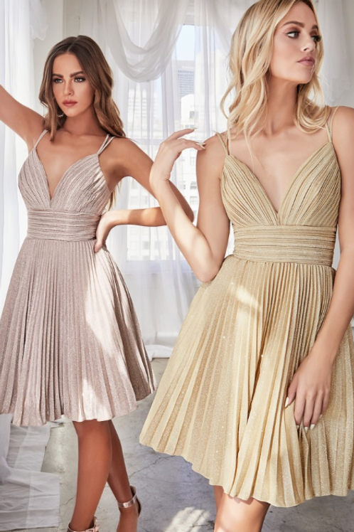 A-line short dress with pleated glitter fabric details and criss cross back