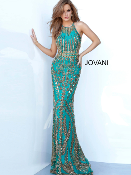 JOVANI Crew Neck Beaded Evening Dress 2720